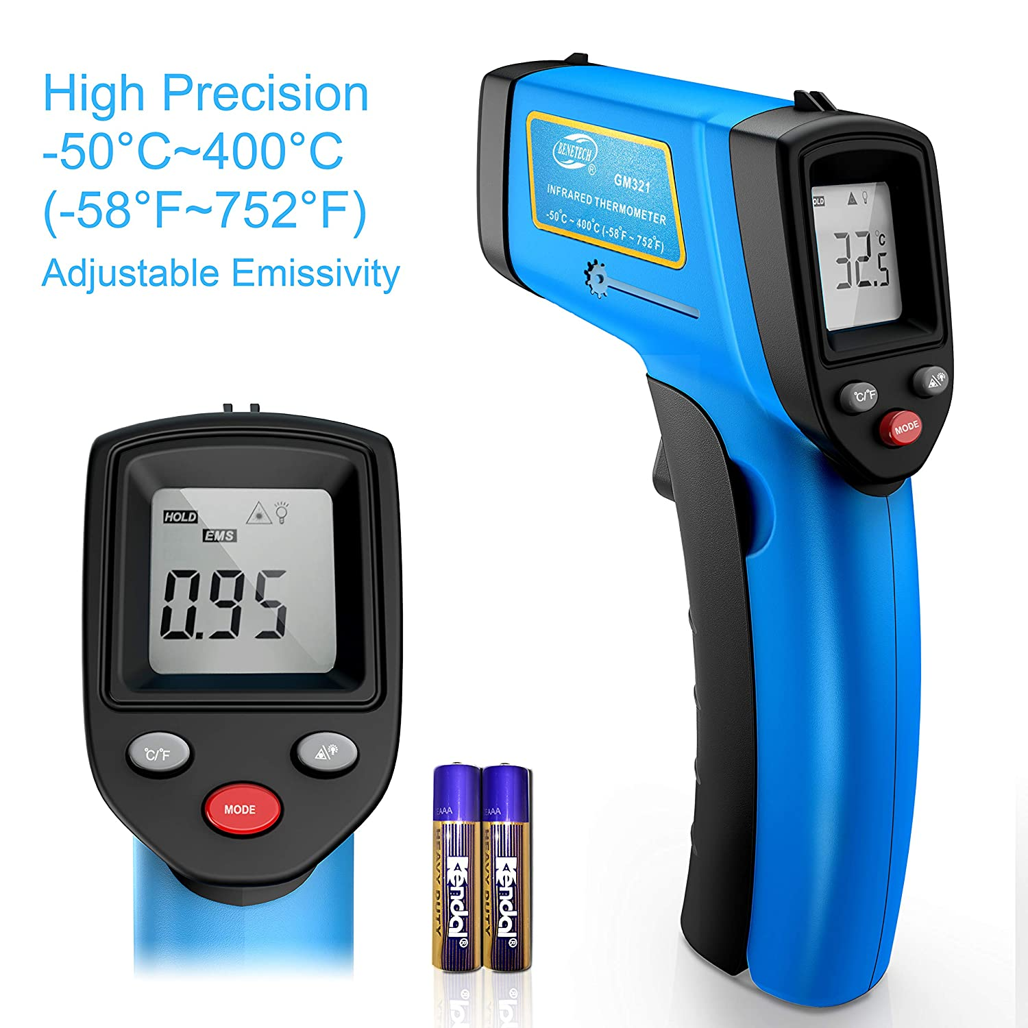 RISWOJOR Laser Infrared Thermometer Non-Contact Digital Temperature Gun,Adjustable Emissivity&MAX/MIN/AT/CAL; -58°F~752°F(-50°C~400°C) Electronic Thermometer for Industrial,Kitchen Cooking,Ovens,Air
