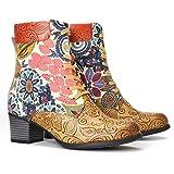 gracosy Botín de tobillo para mujer, botas de cuero, estilo vintage, botas cortas, cremallera lateral, patrón floral