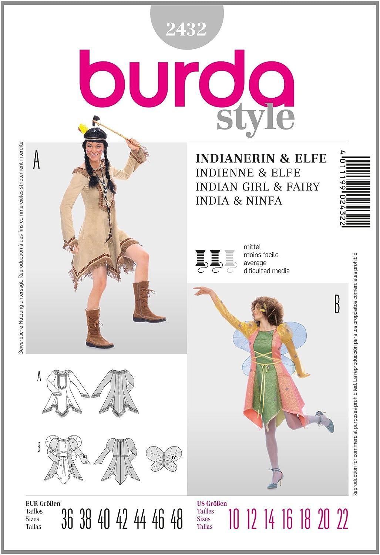 Burda Schnittmuster 2432 Elfe,Indianerin Gr.36-48: Amazon.de: Küche ...