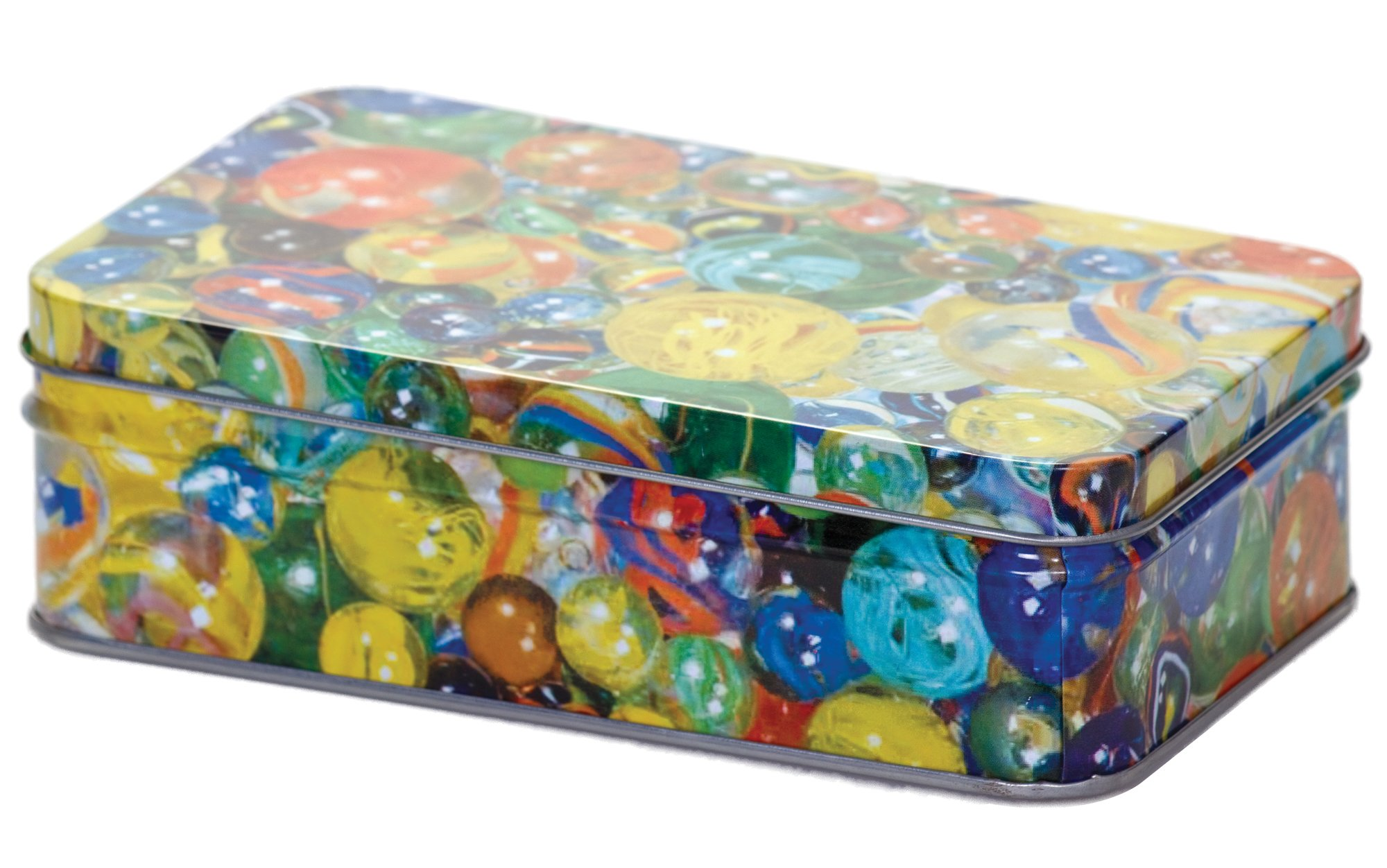 60 Traditional Marbles In A Tin