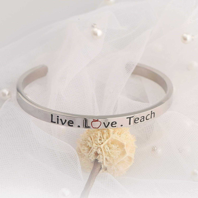 FUSTMW Live Love Teach Cuff Bangle Bracelet Teacher Appreciation Gift Jewelry for Teachers or New Teacher Gifts for Women