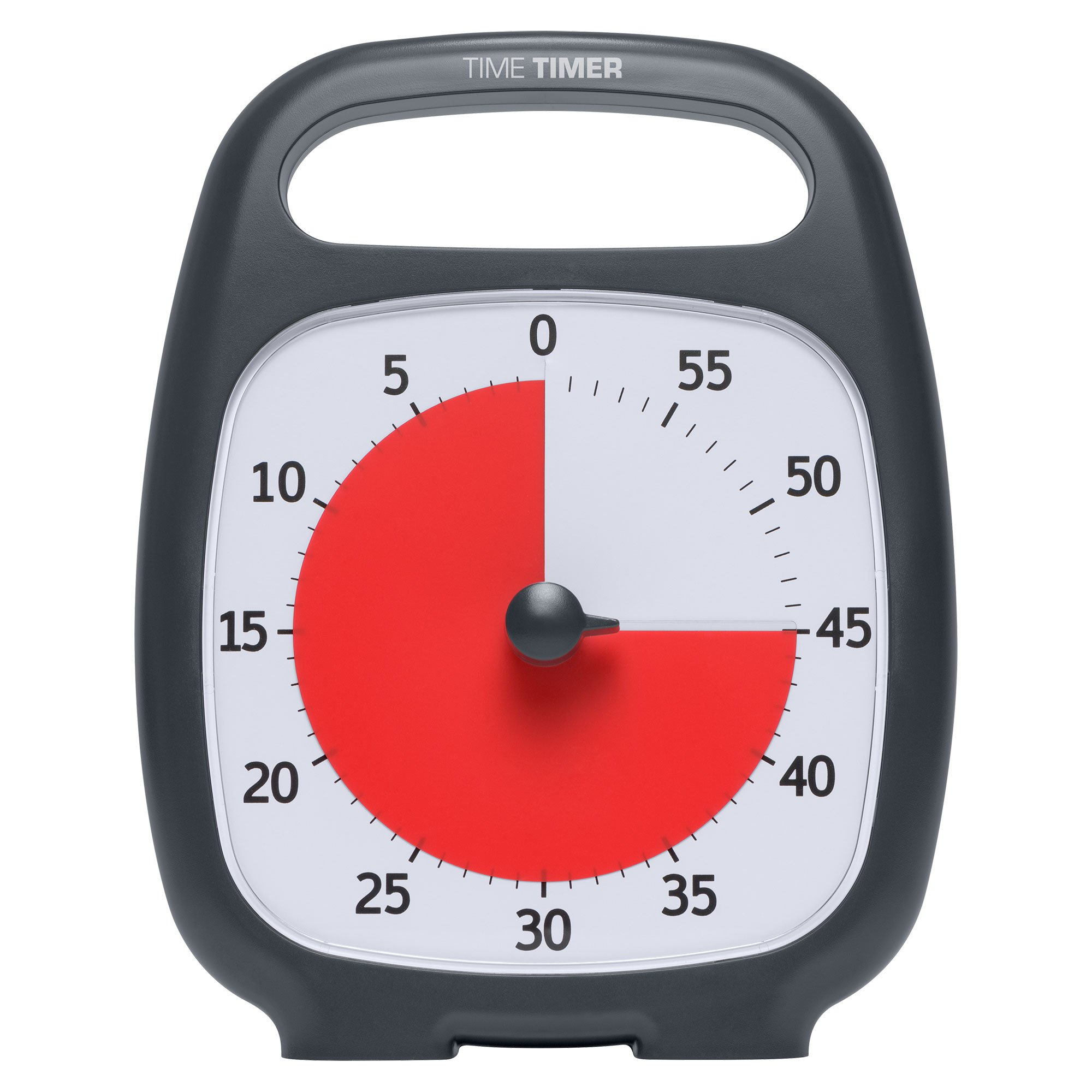"""Time Timer TTP7-W TTP7-W PLUS 60 Minute Visual Analog Timer; Optional Alert (Volume-Control Dial); Silent Operation (No Ticking); 5.5"""" wide x 7"""" tall; Time Management Tool; Charcoal"""