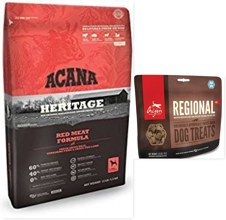 ACANA Dog Food & Orijen Treat Bundle, Heritage Meats Dry Dog Food 25 lb. Bag. & 1 Orijen Regional Red Dog Treats 3.25 OZ Bag Bundle (2 Items)