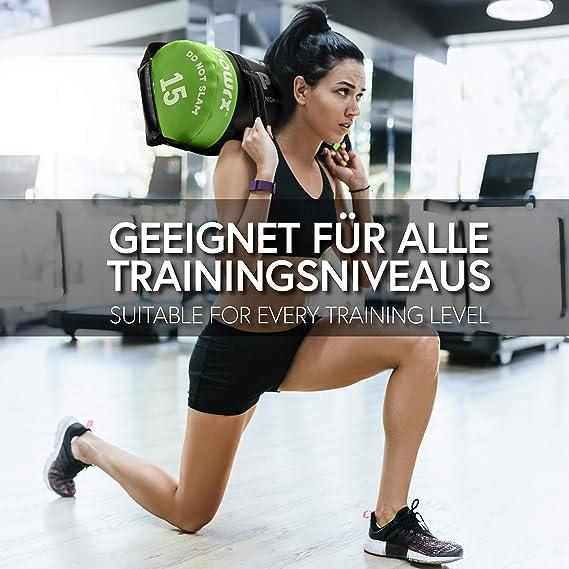 POWRX Sandbag de 5 a 30 kg - Perfecta para mejorar equilibrio, fuerza, y coordinación - Power bag con cuatro agarres + PDF workout