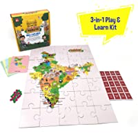 Toiing Puzzletoi - Play & Learn About Incredible India with 3 Different Activities in a Jigsaw Puzzle for 5-10 Year Old Kids (India Map)