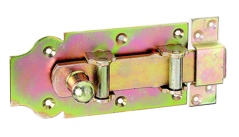 200 x 80 mm gerade GAH-Alberts 118815 Stallt/ür-Rollen-Schlossriegel mit flachem Griff mit befestigter Schlaufe galvanisch gelb verzinkt