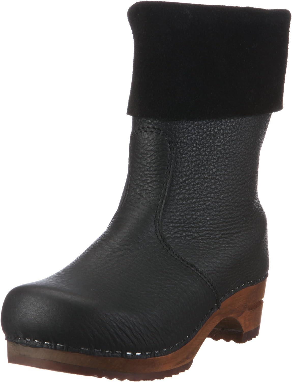 Sanita 'Alison' Roll-top Clog Boots in Black (Art:454444)