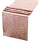 Sequin Table Runners ROSE GOLD-AMAZLINEN 12 X 108 Inch Glitter ROSE GOLD Table Runner-ROSE GOLD Party Supplies Fabric Decorations For Wedding Birthday Baby Shower