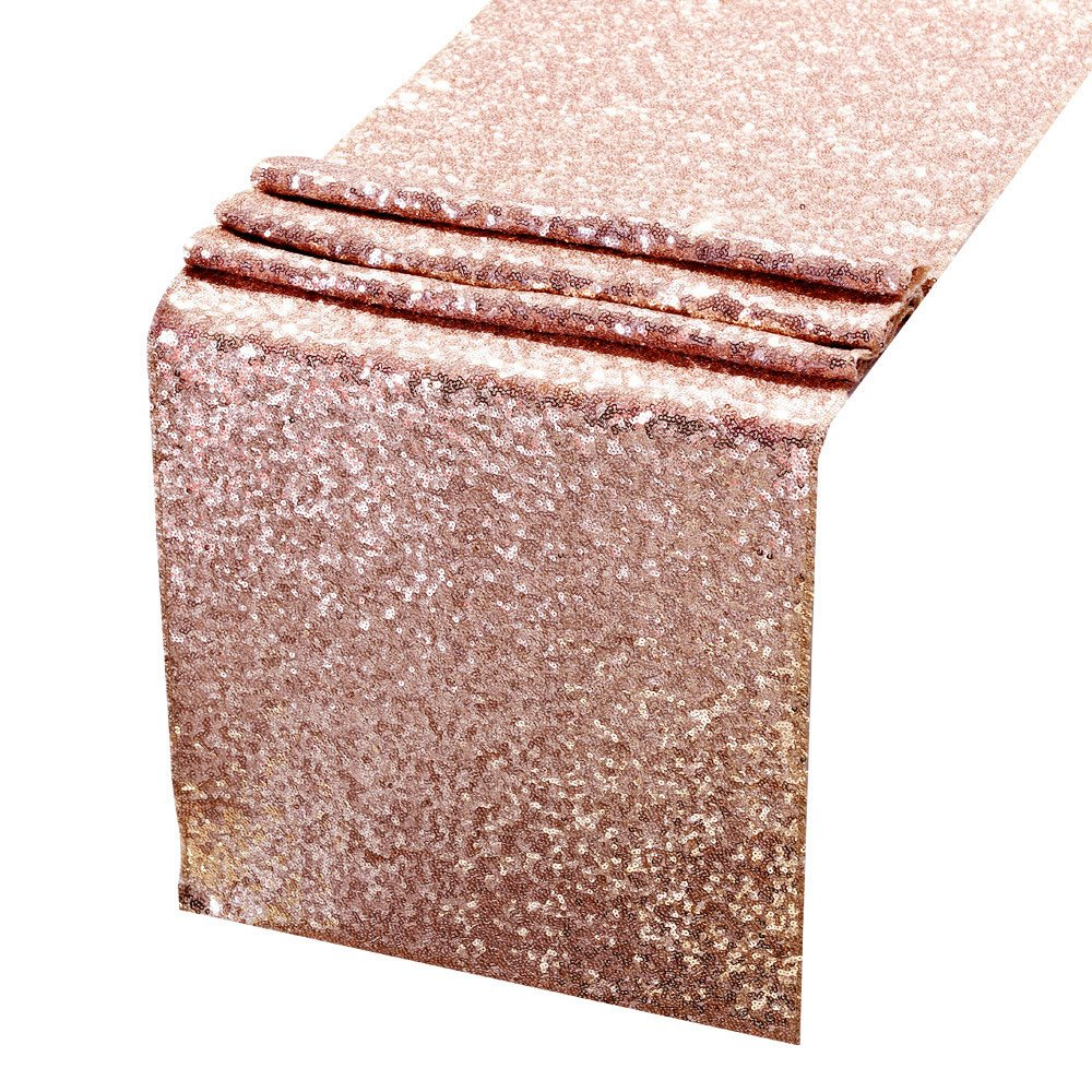 AMAZLINEN 14 x 108 Premium Quality Sequin Table Runner, Rose Gold 711707262607