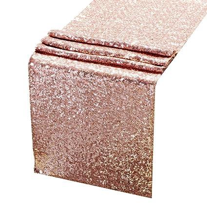 AMAZLINEN Sequin Table Runners ROSE GOLD 12 X 108 Inch Glitter ROSE GOLD Table  Runner