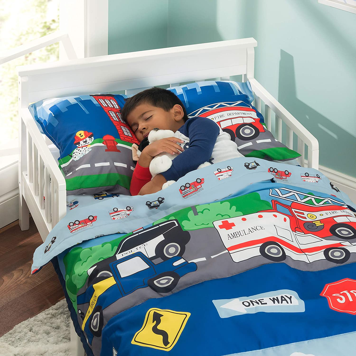 Includes Comforter Solid Grey EVERYDAY KIDS 4 Piece Toddler Bedding Set Fitted Sheet and Pillowcase Flat Sheet