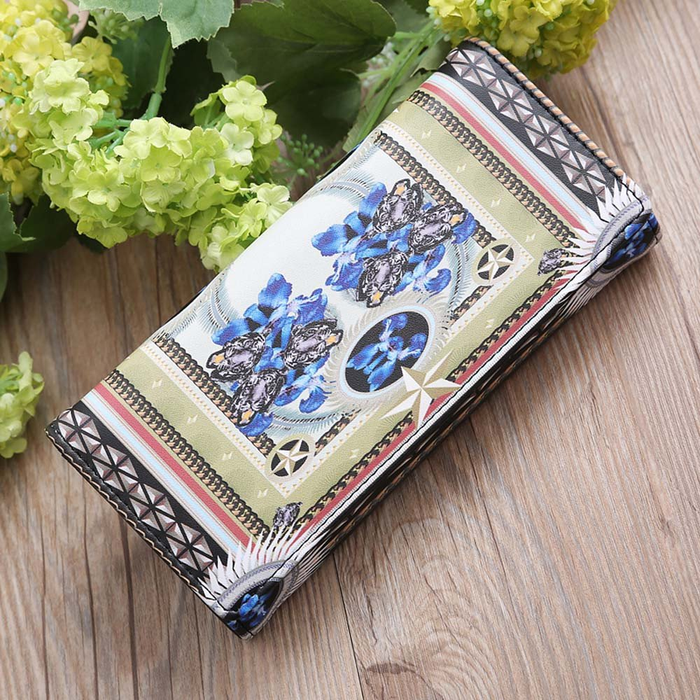 Karamoda WomenS Wallet Vintage Print Hasp Long Coin Purse Cute Cluth Evening Bag Card Holders Money Organizers