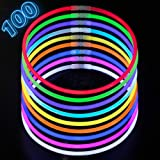 """Glow Sticks Necklaces Party Pack - Bulk 100 Pack Long Extra Bright Glow In The Dark Light Sticks - 22"""" Inch Necklaces Strong 6mm Thick - 9 Vibrant Neon Colors - Glowsticks Kids Light Supplies"""