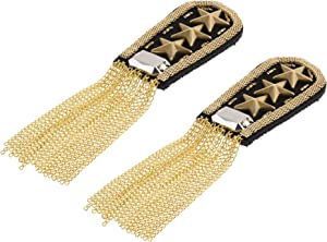 CM Fashion Star Tassel Link Chain Epaulet Shoulder Boards Badge, 1 Pair (Gold Tone)