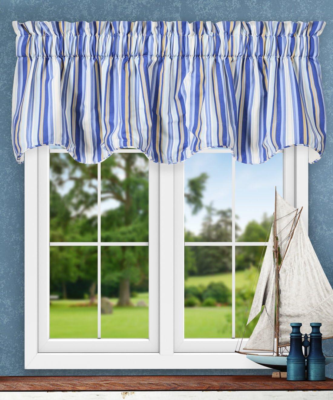 Ellis Curtain Mason Multi Colored Stripe Lined Scallop Valance, 70 x 17 , Blue