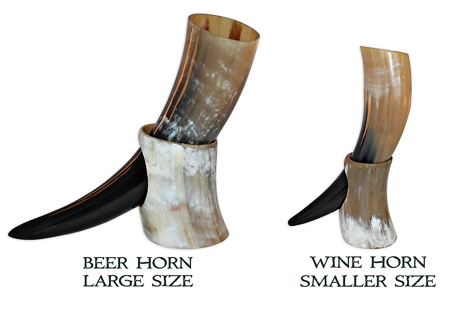 10-12 Ounce Natural Style Viking Wine/Mead Drinking Horn with stand - Authentic Medieval Inspired Mug (16 oz) Valhalla Vineyards