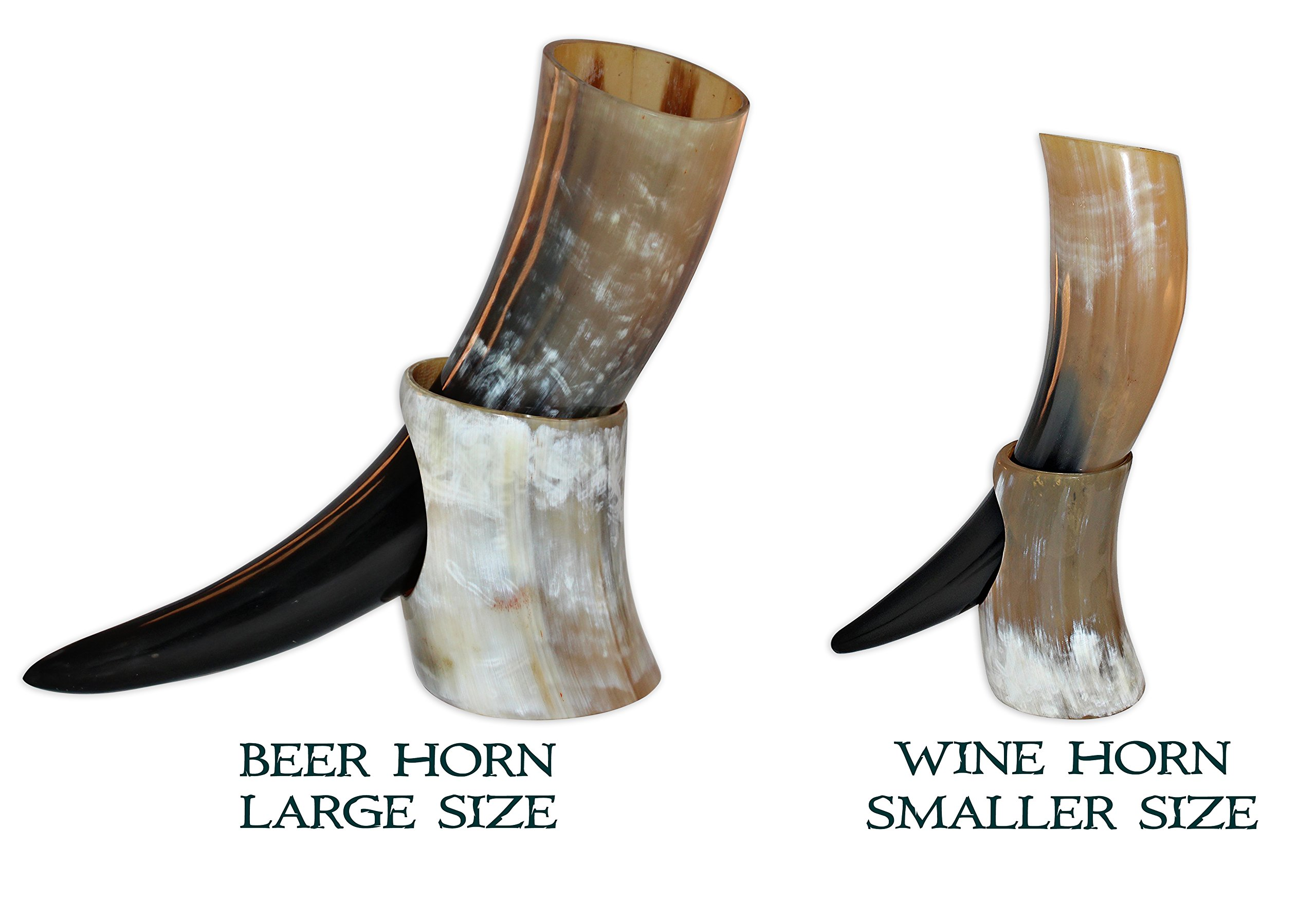 10-12 Ounce Natural Style Viking Wine/Mead Drinking Horn with stand - Authentic Medieval Inspired Mug (16 oz)