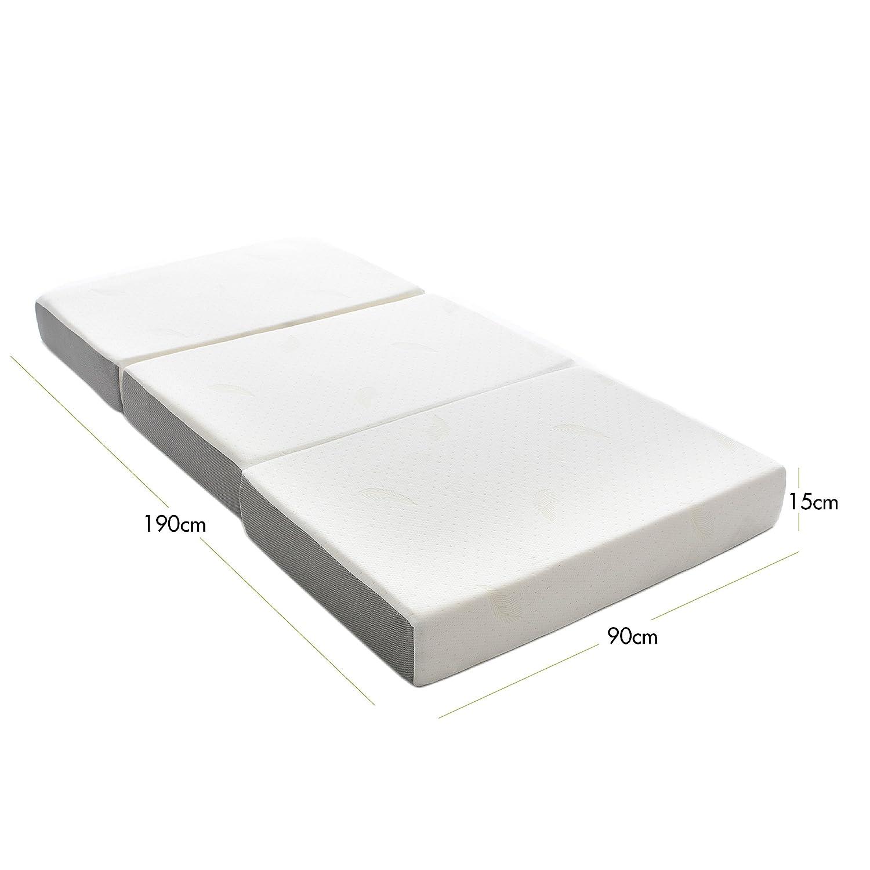 Milliard: colchón Plegable de Tres Partes, 15 cm de Profundidad, para huéspedes con Funda extraíble removible y Base Antideslizante - Individual (190 x 90 ...