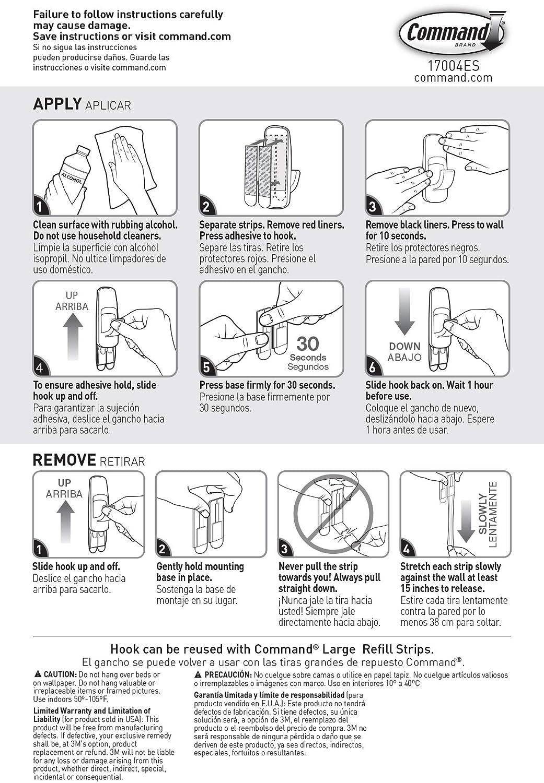 1 Hook 4 Strips Command 17004 Jumbo Plastic Hook with Adhesive Strips