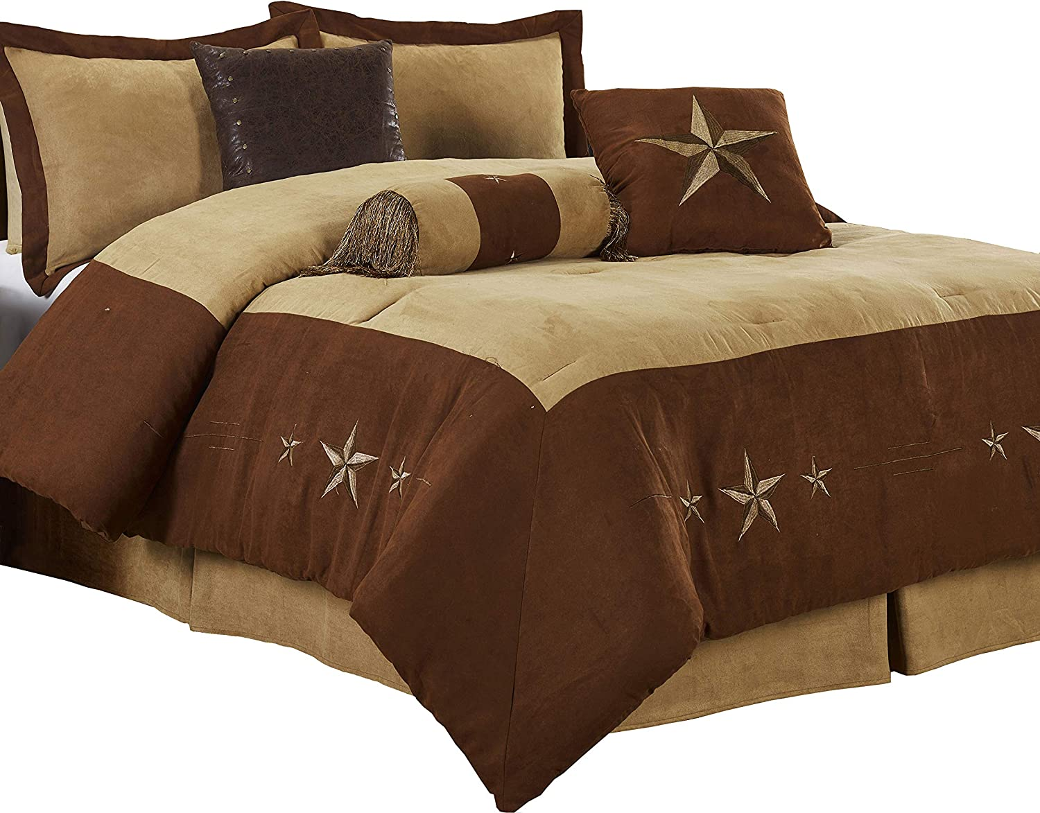 "Chezmoi Collection Winslow 7 Pieces Western Star Embroidery Design Microsuede Bedding Oversized Comforter Set (Queen 92"" x 96"", Brown/Coffee)"