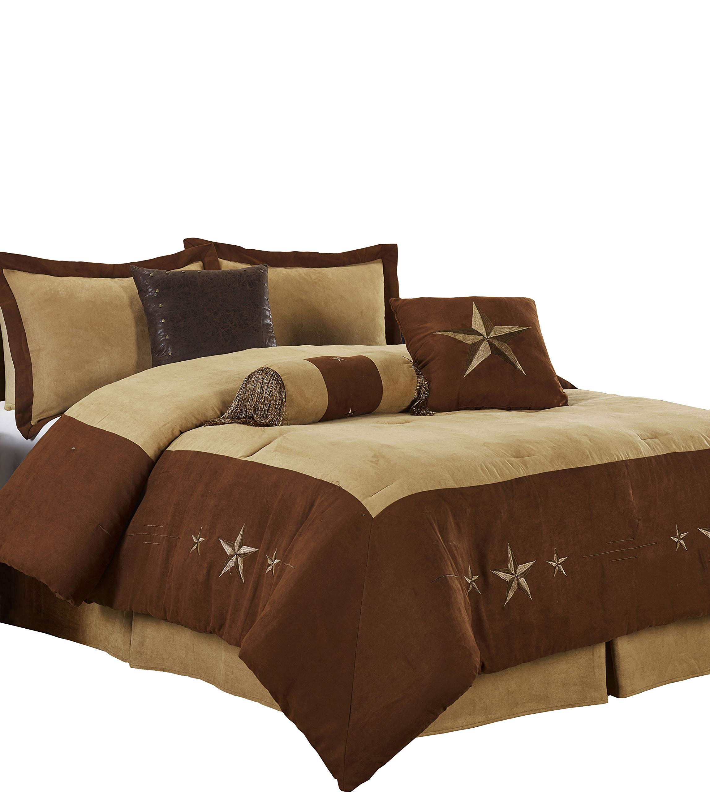 Chezmoi Collection 7 Pieces Western Star Embroidery Design Microsuede Bedding Oversized Comforter Set (California King 108'' x 96'', Brown/Coffee)