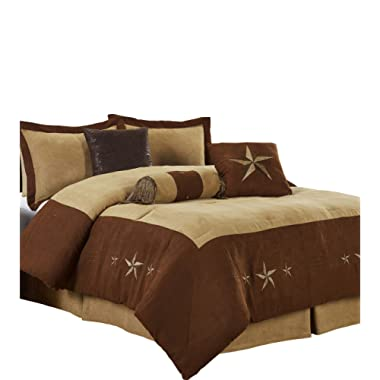 Chezmoi Collection Winslow 7 Pieces Western Star Embroidery Design Microsuede Bedding Oversized Comforter Set (King 108  x 96 , Brown/Coffee)
