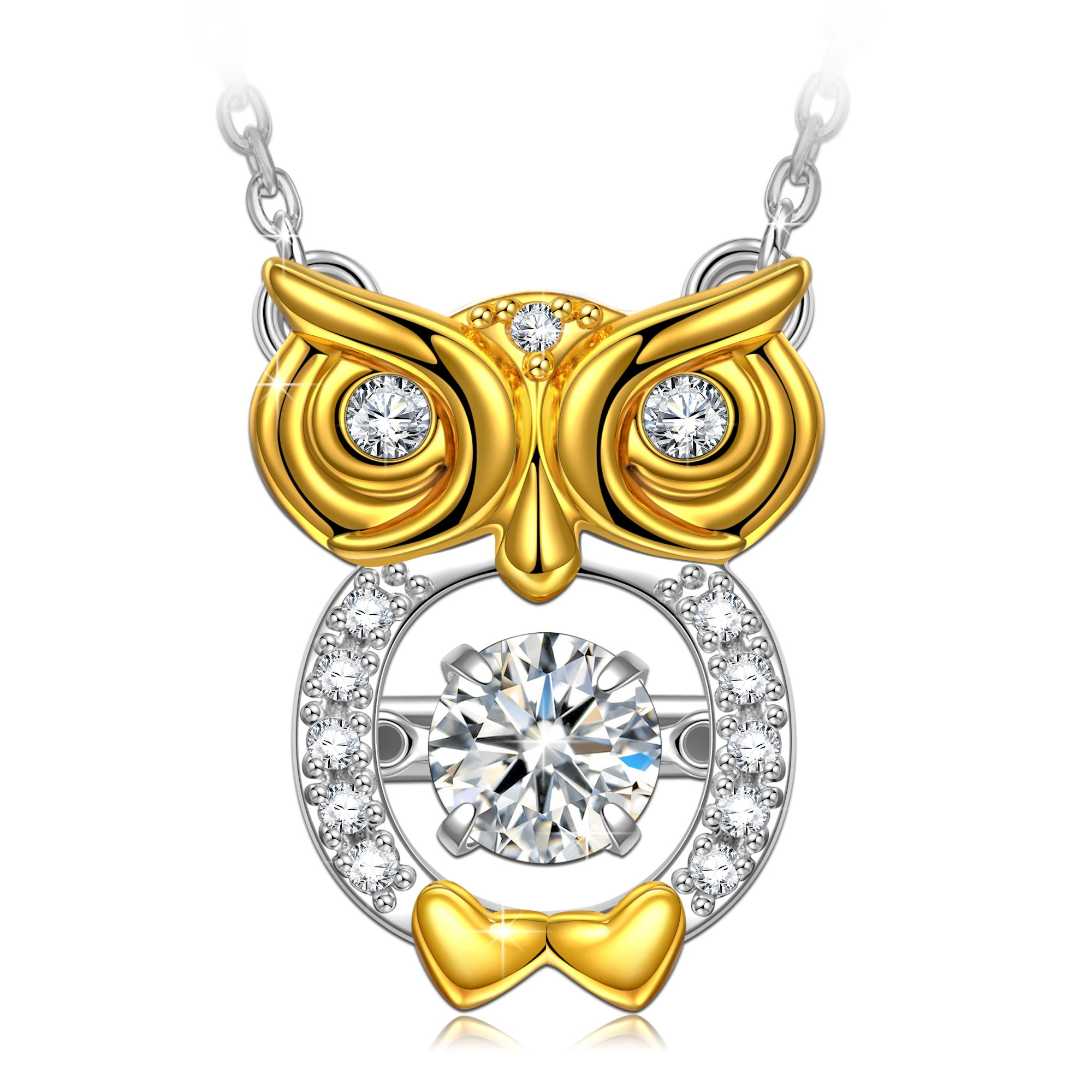 Dancing Stone Owl Necklace 925 Sterling Silver Necklaces for Women Dancing Diamond Necklace Christmas Birthday Gifts for Girls Teens Gold Animal Necklaces Women Pendant Swarovski Crystals Jewelry