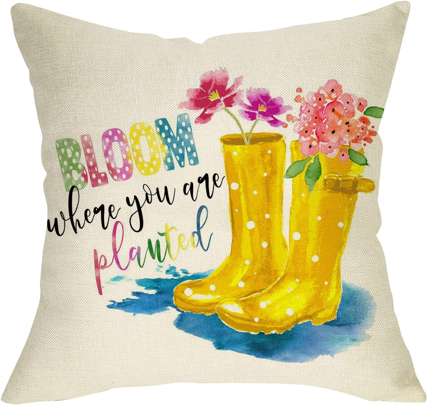 Softxpp Spring Flowers Decorative Throw Pillow Cover, Bloom When You are Planted Sign Cushion Case, Home Rain Boots Farmhouse Decorations Cotton Linen Square Pillowcase Decor for Sofa Couch 18 x 18
