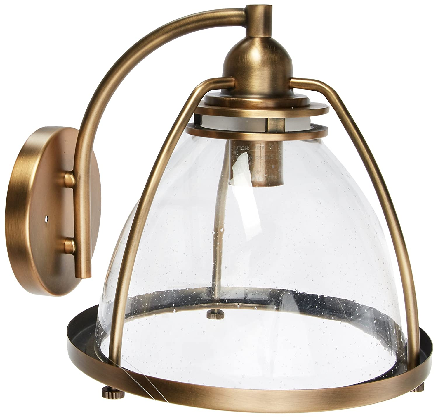 1 Light Silberne Crystal Wall Sconce Lighting with Shades Brass 75 Watts Kichler 43741NBR