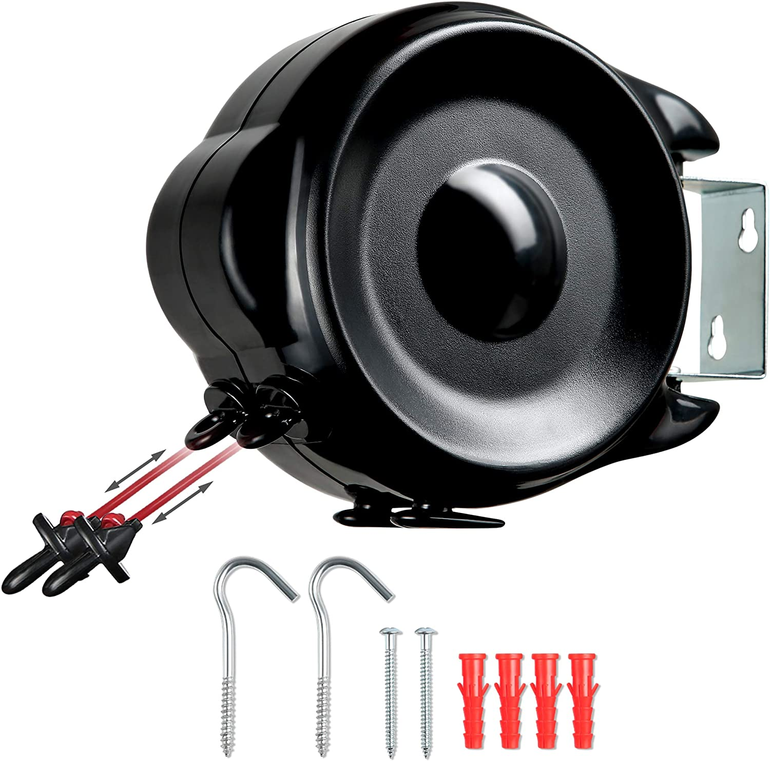 NETTA Retractable Reel Washing Line With 30M Drying Space (2 X 15M) Wall Mounted Heavy Duty Clothes Dryer, Black + Red.