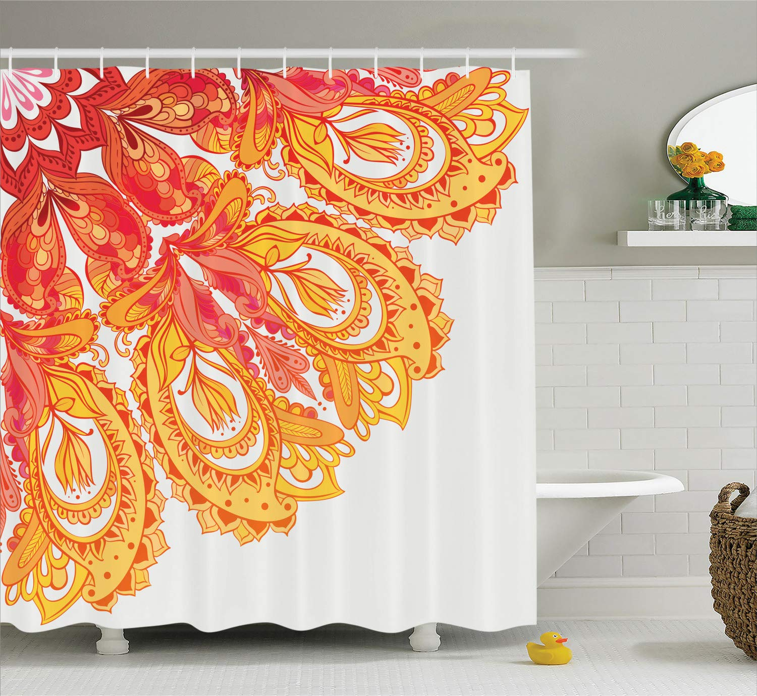 Mandala Decor Shower Curtain by Ambesonne, Edge of Mandala Pattern Detailed Paisley Forms Mystic Traditional Ethnic Art Decor, Polyester Fabric Bathroom Set with Hooks, 75 Inches Long, Orange White