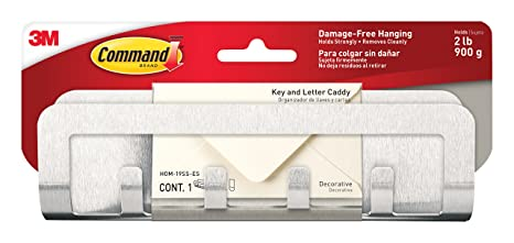 Command 490850324188 HOM-19SS-ES Modern Metal 1-Key Caddy and 4-Strips
