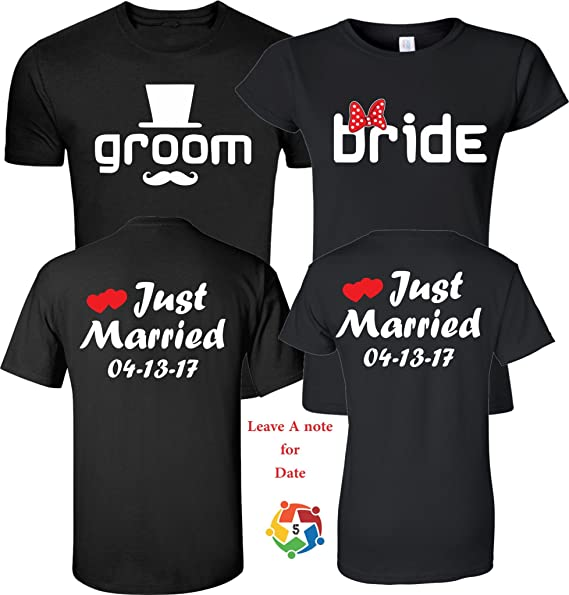a3fbf3ea69a Just Married Groom & Bride Wedding Valentine's Love Couples Cute Matching  Shirts Small Adult Lady Jr