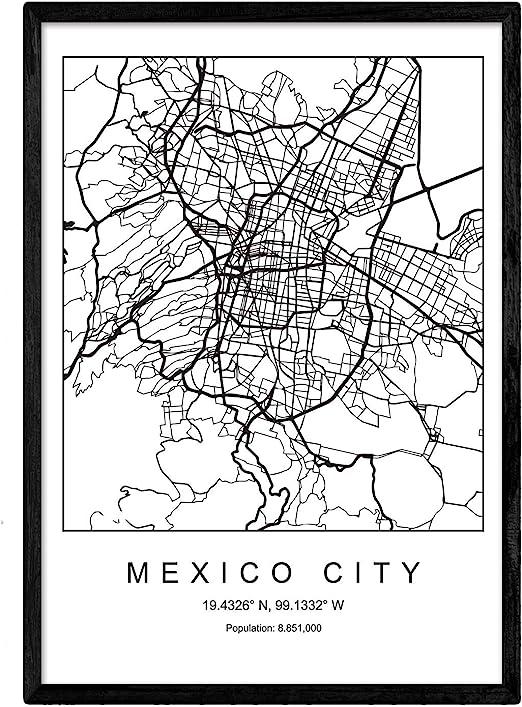 Nacnic Lámina Mapa de la Ciudad Mexico City Estilo nordico en ...