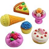 6 Novelty Cute Cake Dessert Food 3D Eraser Rubber Stationary Gift Set For Kids & Collectables