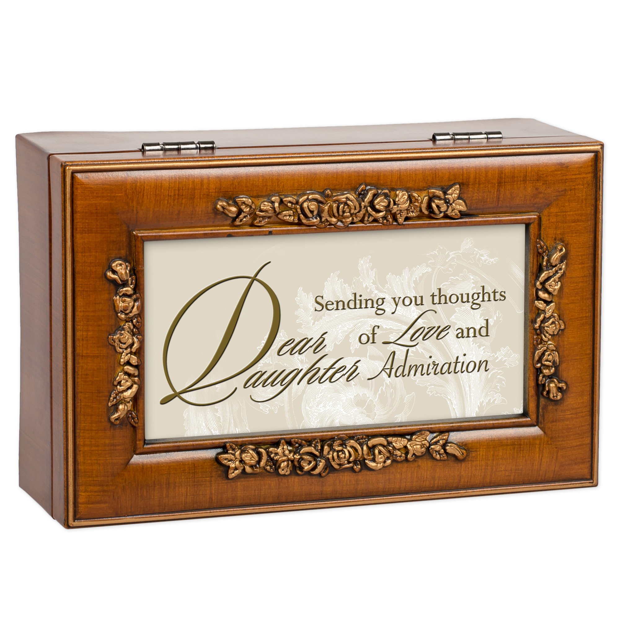 Dear Daughter Wood Finish Rose Jewelry Music Box - Plays You are my Sunshine