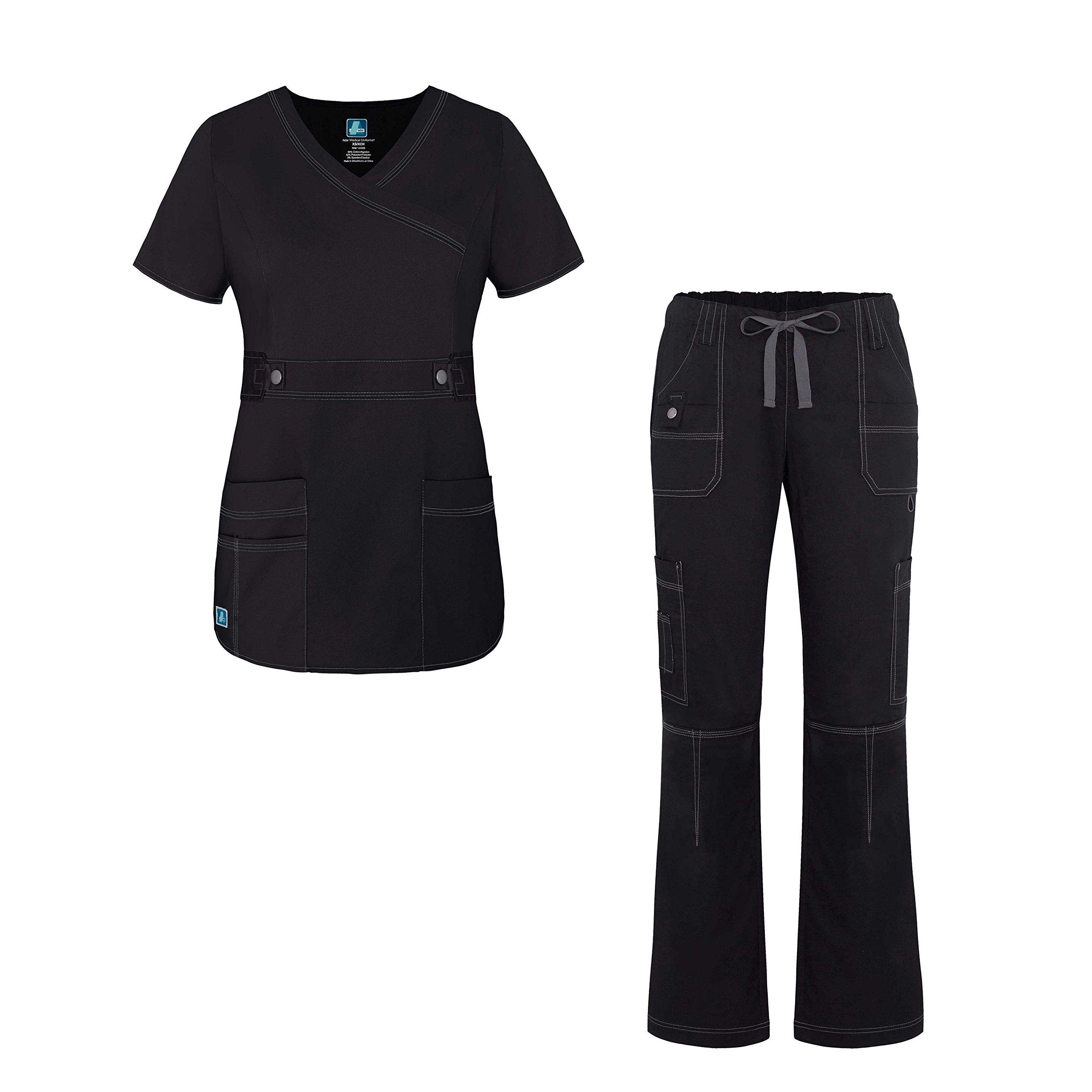 Adar Pop-Stretch Junior Fit Women's Scrub Set - Crossover Top and Multi Pocket Pants - 3500 - Black - XXS