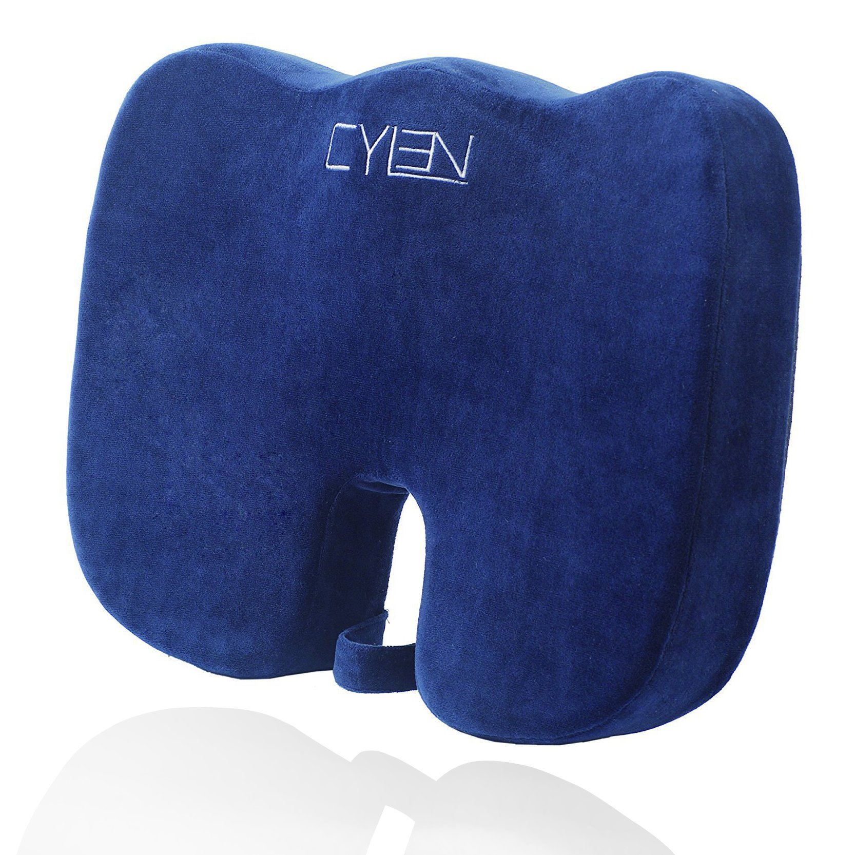 CYLEN -Memory Foam Bamboo Charcoal Infused Ventilated Orthopedic Seat Cushion for Car and Office Chair - Washable & Breathable Cover (Navy Blue)