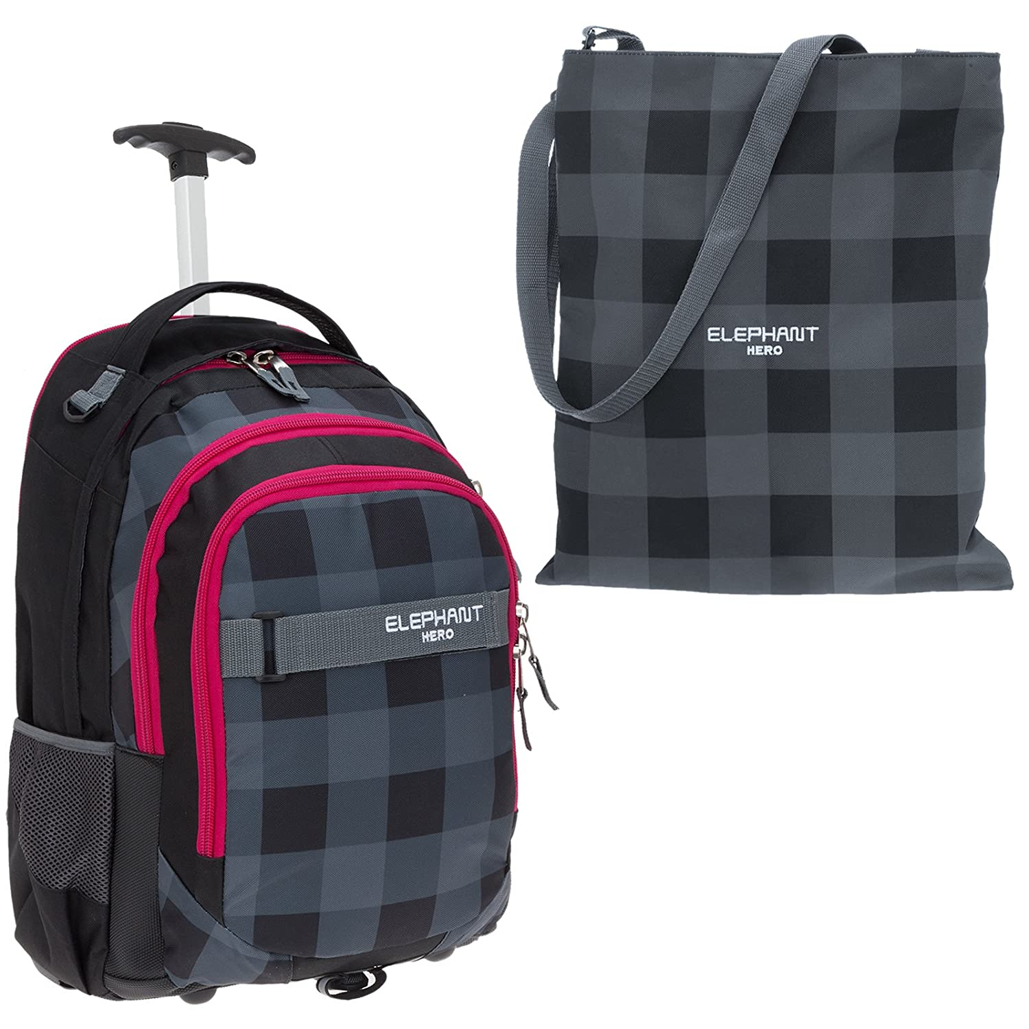 d66e969c5f823 2 Teile SET  ELEPHANT Trolley HERO SIGNATURE Schultrolley 12680 +  Turnbeutel ATTACH Bag (Butterfly