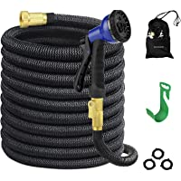 Guoxuan 50-Foot Expandable Garden Hose with Double Latex Core, 3/4 Solid Brass Fittings & 8 Function Spray Nozzle