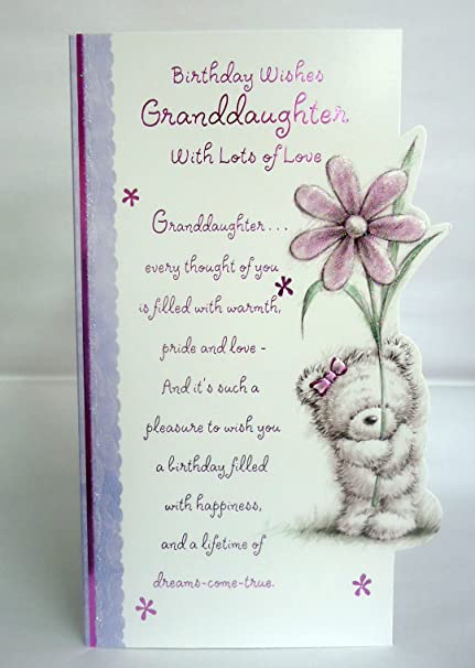 Birthday Wishes Granddaughter Lovely Bright Modern Flower Bear Design Happy Greeting Card With A