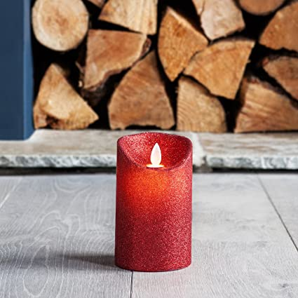 Small Red Glitter Battery Operated Led Dancing Flame Candle By Lights4fun Amazon Co Uk Kitchen Home