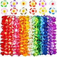 Hawaiian Leis, (54 Designs Total) 42 Flowers Necklaces 7 Colour and 12 Hair Clips for Party Supplies, Hawaiian Luau…