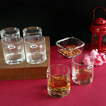 Iveo Whisky Glass Set, 315ml, 6-Pieces, Clear Glassware & Drinkware at amazon