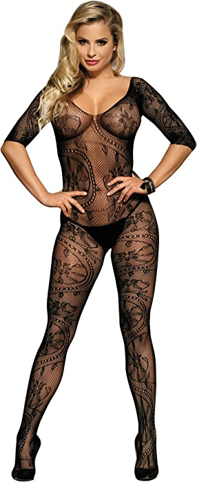 f781f884dc7 Womens Sexy Crotchless Floral Fishnet Long Sleeve Open Crotch  Bodystockings. Back. Double-tap to zoom