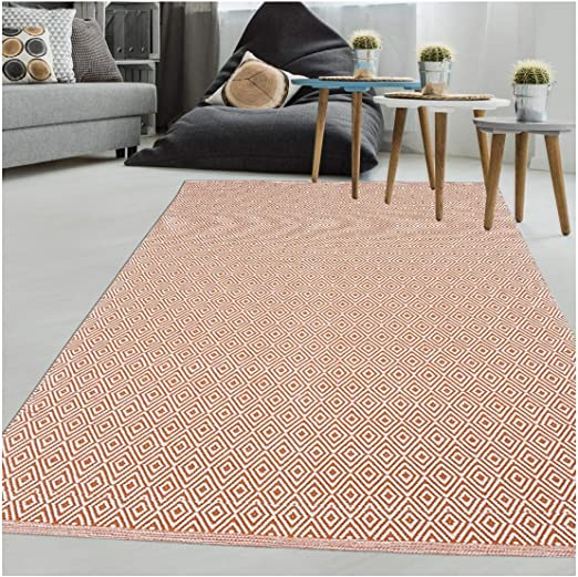 Un amour de alfombra escandinavia 50 x 80 cm, alfombra moderna para entrada, alfombra rectangular, alfombra beige, algodón, naranja, 120x170: Amazon.es: Hogar