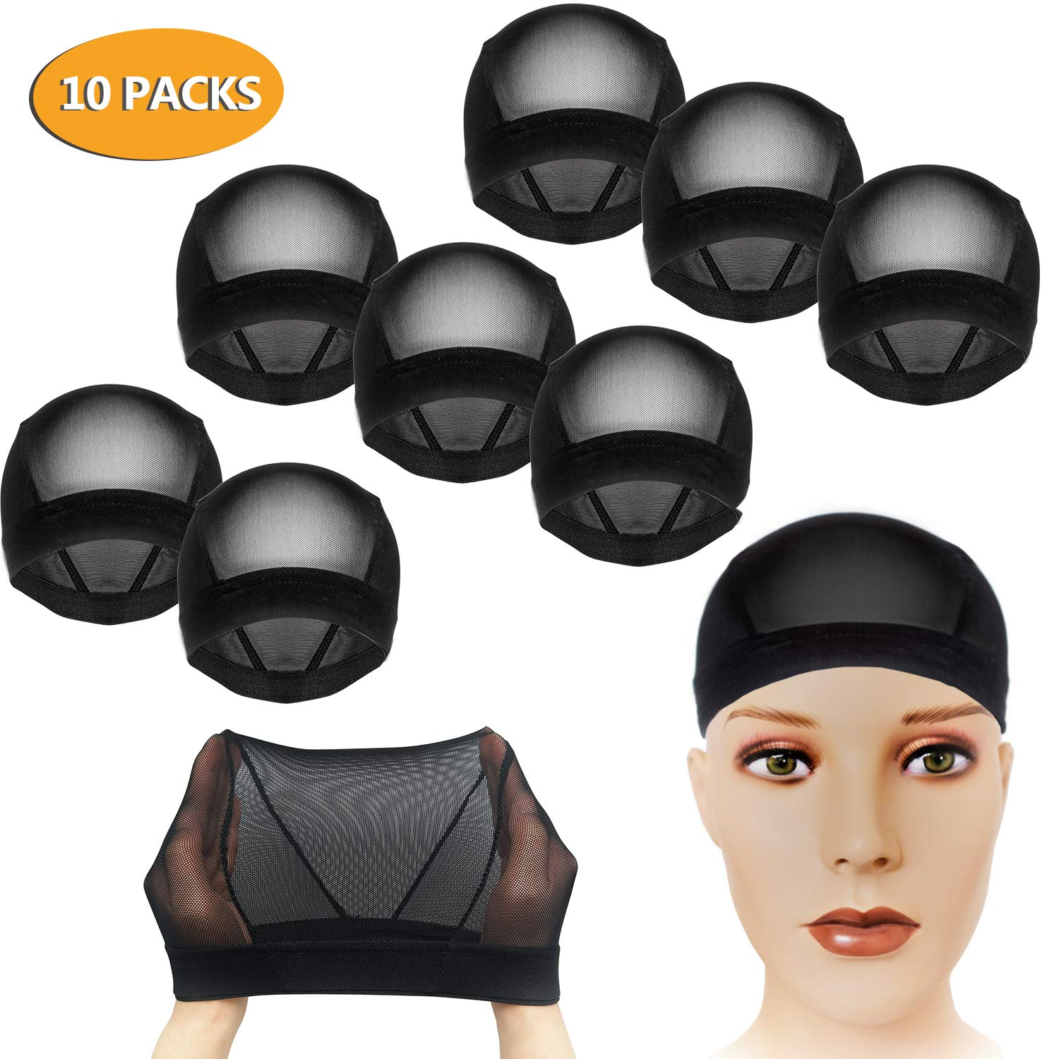 CODOHI 10 Packs Dome Wig Cap for Men Women All Round Stretchy Spandex Full Wig Cap, Weaving Mesh - Black by CODOHI