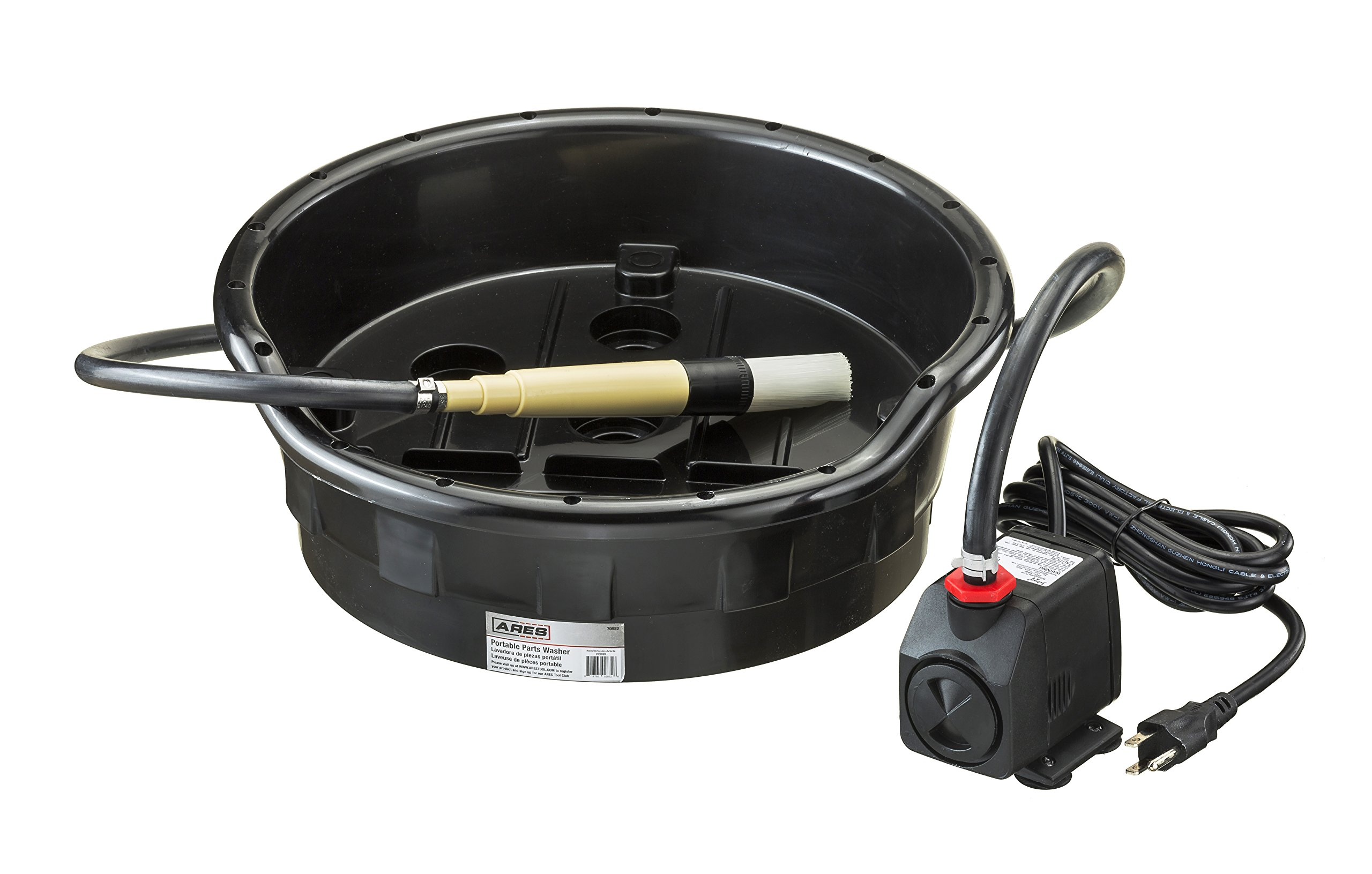 ARES 70922 | Portable Parts Washer | Easily Fits 5 Gallon Buckets | For Degreasing Small Parts and Tools