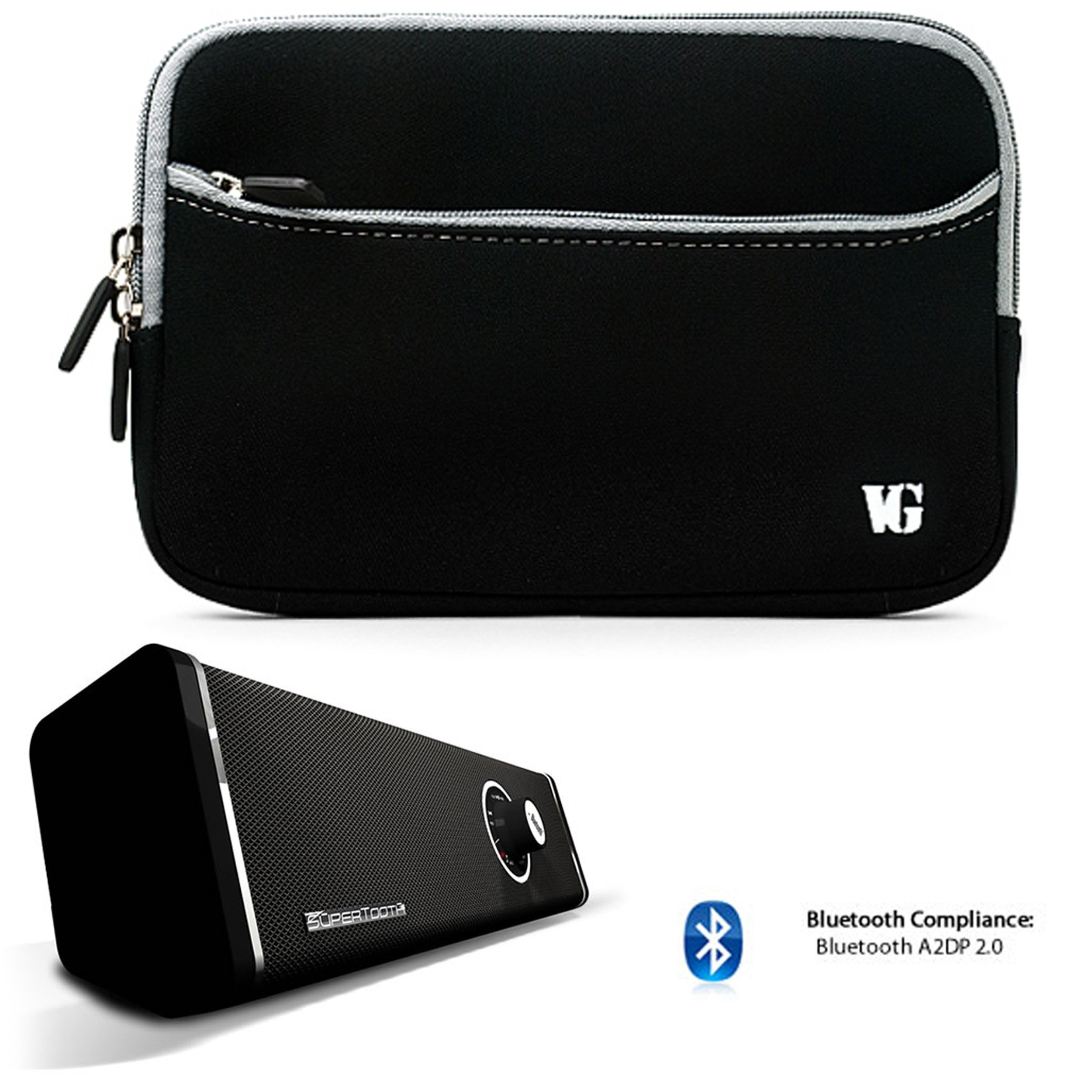 Anti-Scratch Slim Neoprene Sleeve For Verizon Wireless Ellipsis 8 HD / Ellipsis 7 HD Tablet + Bluetooth Speaker by eBigValue