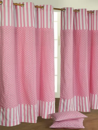 Homescapes Pair of 100% Cotton Ready Made Curtains - Polka Dots ...